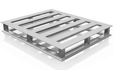 AplusPallets Fully Nestable 4-Way Entry aluminum pallet with standard deck.