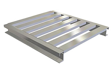 Heavy Duty Rail Open Bottom Aluminum Pallet